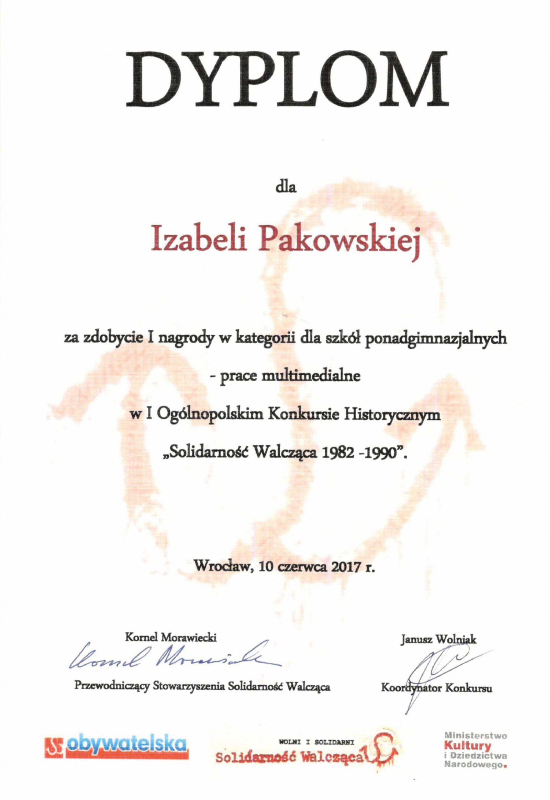 Iza pakowska dyplom